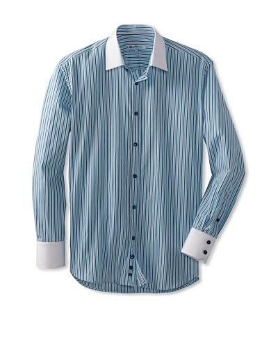 Café Bleu Men's Novan Striped Long Sleeve Sportshirt  [Turquoise]