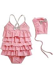 Vivo-biniya Kid Girls One-piece Swimsuits and Caps Pleated Skirt Swimwear3-7