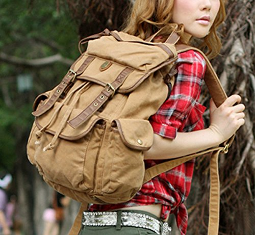 Serbags Vintage Canvas Leather Travel Rucksack Military Backpack - Light Brown 4