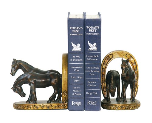 Sterling Home Pair of Horse And Horseshoe Bookends, 6-Inch Tall Shoe Bookends