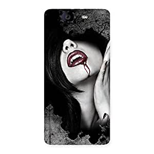 Stylish Wonder Lips Red Back Case Cover for Canvas Knight A350