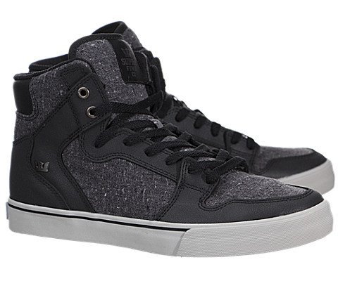 Supra Vaider High Top Skate Shoe – Men's Black Leather/Charcoal Speckled Textile, 9.5