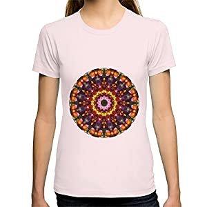 Society6 Women's Pansy Kaleidoscope T-Shirt Medium Light Pink