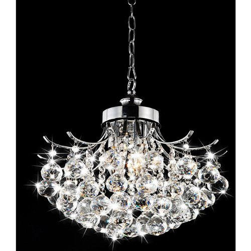 Modern round crystal hanging chandelier pendant chrome for Contemporary chandeliers amazon