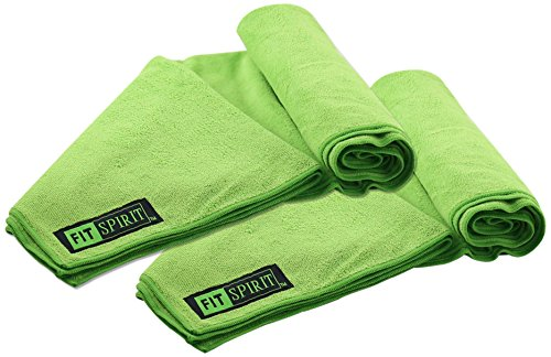 Fit Spirit Set of 2 Super Absorbent Microfiber Non Slip Skidless Sport Towels (32x72) - Green Towels (Super Absorbent compare prices)