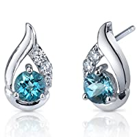 Radiant Teardrop 1.00 Carats London Blue Topaz Round Cut Cubic Zirconia Earrings in Sterling Silver Rhodium Nickel Finish by Peora