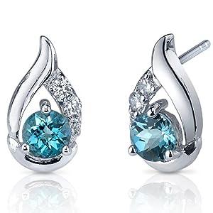 Radiant Teardrop 1.00 Carats London Blue Topaz Round Cut Cubic Zirconia Earrings in Sterling Silver Rhodium Nickel Finish by Peora