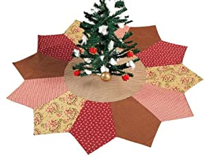 #!Cheap Cinnamon Rose Quilted Christmas Tree Skirt