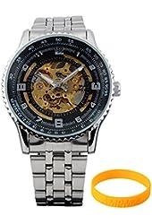 AMPM24 PMW023 Mechanical Analogue Black Skeleton Mens Sport Wrist Watch - Wristband