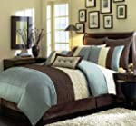 8 Pieces Beige, Blue and Brown Stripe...