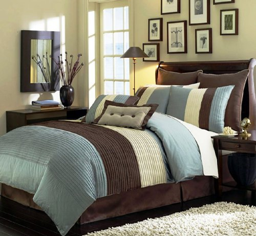 "Buy Bargain 8 Pieces Blue Beige Brown Luxury Stripe Comforter (90""x92"") Bed-in-a-bag Set Q..."