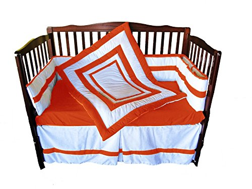 Baby Doll Modern Hotel Style Crib Bedding Set, Orange