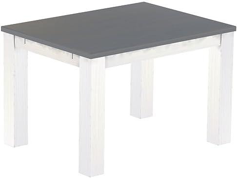Brasil Mobili Tavolo da pranzo 'Rio classico' 120x 90x 78cm, in legno di pino massiccio, seta tinta Grigio–Bianco