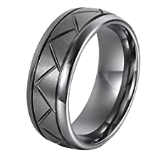buy Ger 8Mm Diamond Cut Dome Groove Newport Tungsten Carbide Ring Wedding Band Silver Size 8