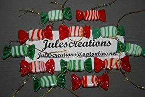 12 MURANO ART GLASS ORNAMENTS Holiday CANDIES SWEETS Miniature CANDYCANE