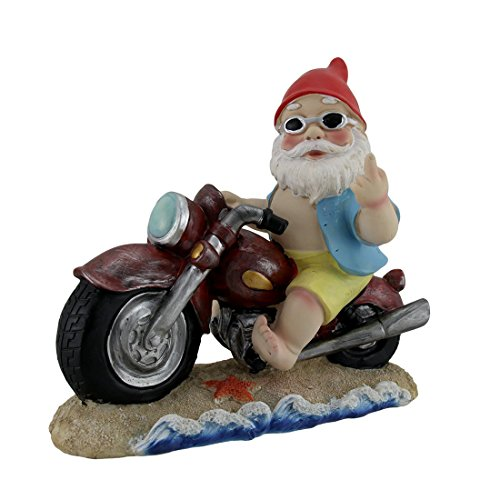 Naughty Gnome Statue on Motorcycle Flipping the Bird