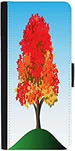 Snoogg Colorful Tree Graphic Snap On Hard Back Leather + Pc Flip Cover Lg G4