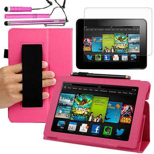=>  BIRUGEAR Slim Folding Leather Case & Stylus, Screen Protector for All New Kindle Fire HD 7 Inch Tablet (2013 Release) ( Hot Pink, w/ HandStrap & Stand )