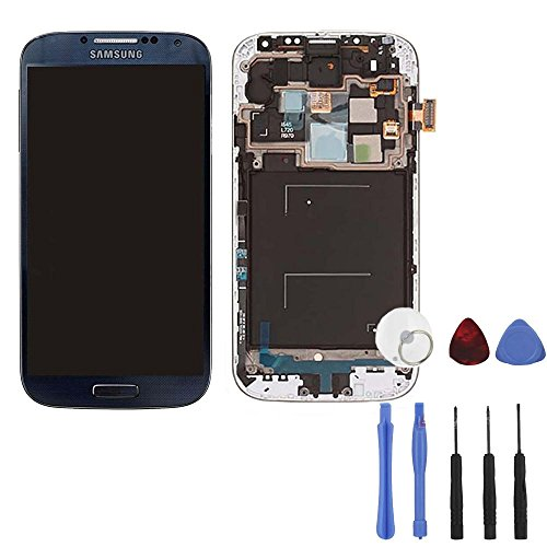 Black Mist = Dark Blue Complete Digitizer Assembly With Frame For Samsung Galaxy S4 + Tools