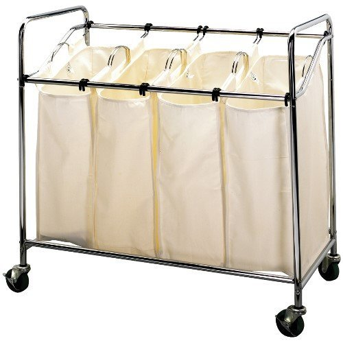 Household Essentials Four Bag Laundry Sorter, Chrome Finish (Household Essentials Laundry Bag compare prices)