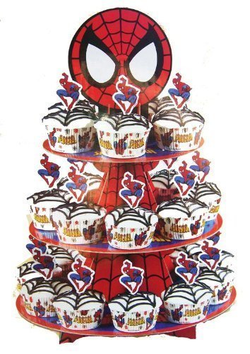 Marvel Spider-man Cupcake Stand Kit with 24 Cups and 24 Pix