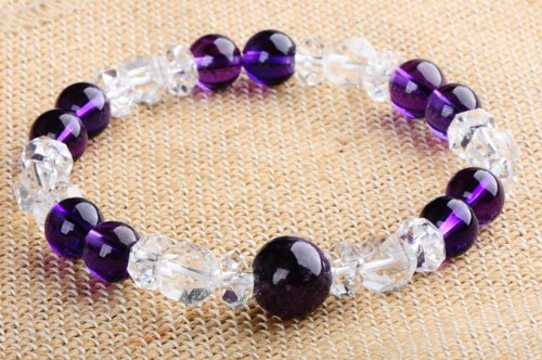 World three major healing stones ★ Super Mint ★ gurdian x Amethyst x Crystal ★ natural stone design bracelet [power stone: FKA-498