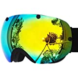 Zionor® Professional Lagopus Snowmobile Snowboard Skate Ski Goggles with Detachable Lens and Super Wide Angle Double Lens Anti-fog Big Spherical Unisex Adult Multicolor Lagopus2300