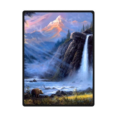 [Big Discount - Curtain Fog Sunrise Forest Nature River Bear Eagle Machine Washable Bed Blankets/Throw and Blankets 58