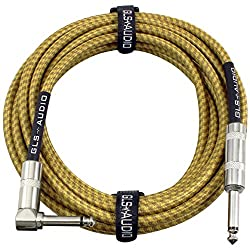 GLS Audio 20 Foot Guitar Instrument Cable - Right Angle 1/4 Inch TS to Straight 1/4 Inch TS 20 FT Brown Yellow Tweed Cloth Jacket - 20 Feet Pro Cord 20' Phono 6.3mm - SINGLE from GLS Audio