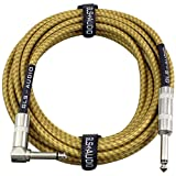 GLS Audio 20 Foot Guitar Instrument Cable - Right Angle 1/4 Inch TS to Straight 1/4 Inch TS 20 FT Brown Yellow Tweed Cloth Jacket - 20 Feet Pro Cord 20' Phono 6.3mm - SINGLE