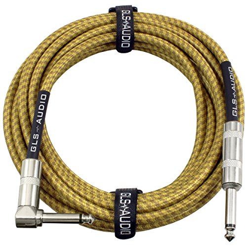 GLS-Audio-20-Foot-Guitar-Instrument-Cable-Right-Angle-14-Inch-TS-to-Straight-14-Inch-TS-20-FT-Brown-Yellow-Tweed-Cloth-Jacket-20-Feet-Pro-Cord-20-Phono-63mm-SINGLE