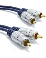 Pur cuivre desoxygéné HQ 2 x RCA Cinch Fiches Vers Fiches Stéréo Audio câble Plaqués Or 1 m