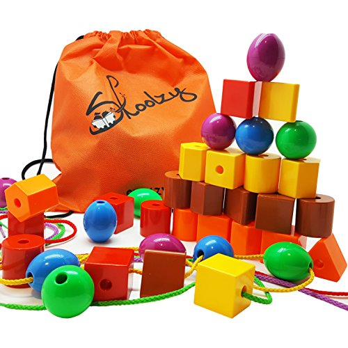 Jumbo Primary Stringing Bead Set by Skoolzy with 36 Lacing Beads for Toddlers and Babies. Includes 4 Strings, Carrying Tote & Busy Bag Idea Guide   Montessori Toys for Fine Motor Skills Autism OT
