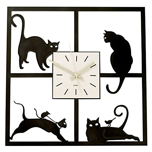 Cat In The Window-Cat-themed Hanging Wall Clock Great Home Décor Gift - Measures 17-5/8