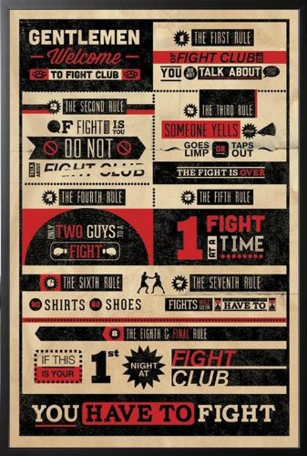 Framed Fight Club – 8 Rules Infographic Movie 24×36 Wood Framed Poster Art Print