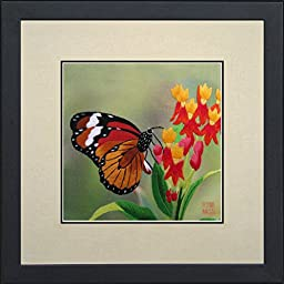 King Silk Art 100% Handmade Embroidery Framed Brown Monarch Butterfly Resting On Red Flower Oriental Wall Hanging Art Asian Decoration Tapestry Artwork Picture Gifts 33024WFB1