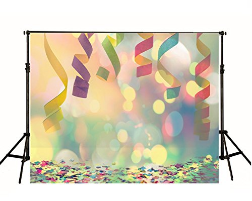 Coloured Ribbon Party Photo Backdrop Colorful Confetti Birthday Wedding Photography Shoot Backgrounds Printed Digital Picture Polka Dot Halo Wallpaper