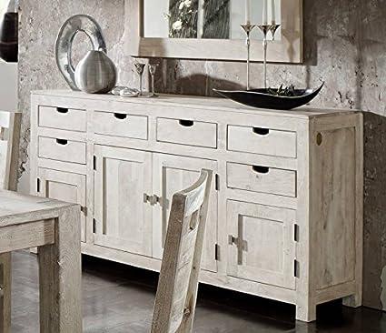 NATURE buffet blanc - 84 meuble en bois d'acacia laqué