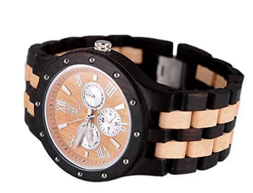 Topwell� Multi-Eyed Hypoallergenic Wood Watches Date Time Week Month Wood Wooden WristWatches Unisex Sandalwood Round QUARTZ Wood Watch For Christmas gifts birthday Anniversary gifts with Gift Box Black and Beige