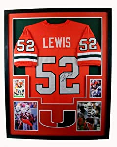 Ray Lewis Framed Jersey Signed JSA COA Autographed Miami Hurricanes