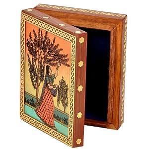 Amazon.com: Little India Meera Gemstone Painting Wooden Jewelry Box