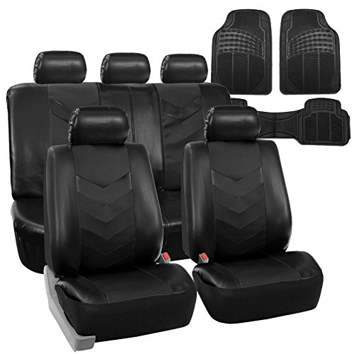 COMMART Faux Leather Car Seat Covers for Auto Black W/ Heavy Duty Floor Mats Ships from USA (Superwoman Car Mats compare prices)