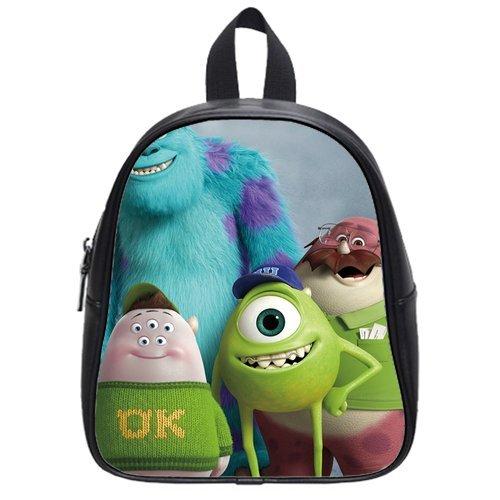 Generic Custom Disney Cartoon Monsters University Printed Black School Bag Backpack Fit Short Trip Pu Leather Small front-64066
