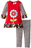 Rare Editions Baby Baby-Girls Infant Red Striped Flower