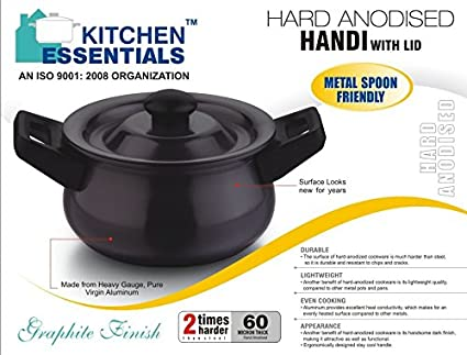 Kitchen Essentials VR77 Hard Anodised Handi Kadhai (2.5 L)