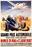 CAR RACE GRAND PRINX AIRPLANE AUTOMOBILE MEETING AVIATION 1947 VINTAGE POSTER REPRO