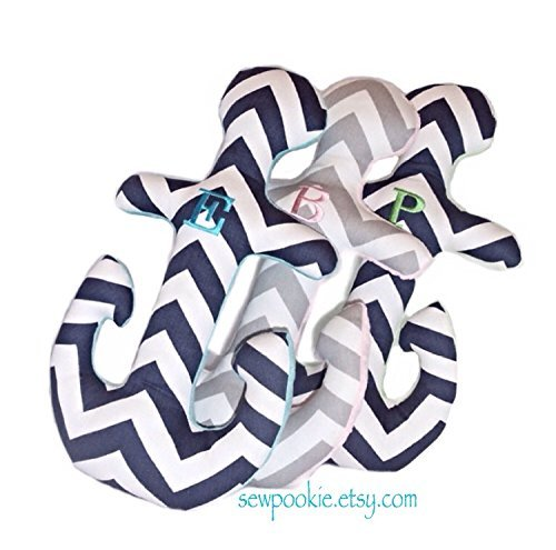 PERSONALIZED One-letter Anchor Pillow / Chevron Anchor Shaped Pillow