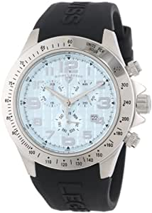 Swiss Legend Men's 30041-012 Eograph Chronograph Light Blue Grid Dial Black Silicone Watch