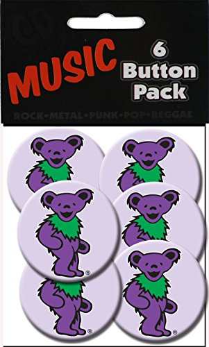 "C&D Visionary Grateful Dead Purple Bear 1.25"" Button (6-Piece) - 1"