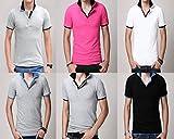 カジュアル メンズ ポロシャツ 半袖 人気 ブラックブルー グレーブラック グレーネイビー グレーブルー ピンクブラック ホワイトブラック